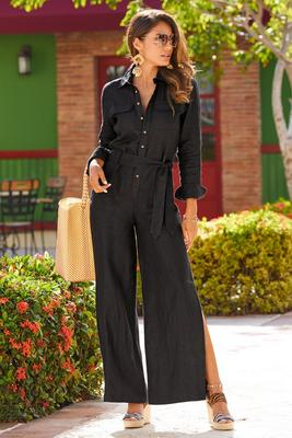 Display product reviews for Linen utility jumpsuit