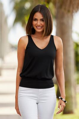 Ribbed blouson tank top