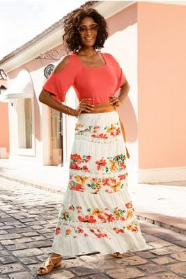 Display product reviews for Tiered floral maxi skirt