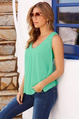 Chiffon overlay sleeveless top
