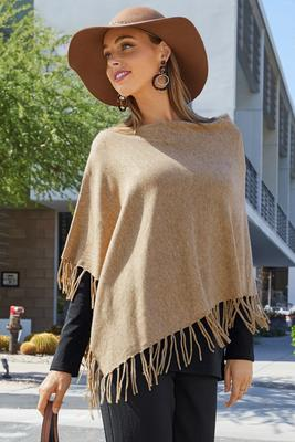 Fringe sweater poncho