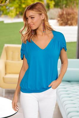 Display product reviews for Ruched sleeve v neck top