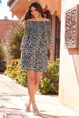 Smocked embellished off the shoulder leopard dress