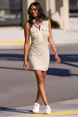 Stripe racerback chic zip dress