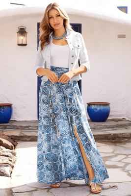 Tile print slit maxi skirt