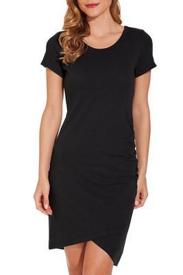 Cap sleeve ruched T-shirt dress