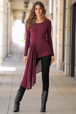 Chiffon overlay long sleeve top