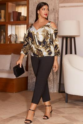 Display product reviews for Cold shoulder surplice printed top