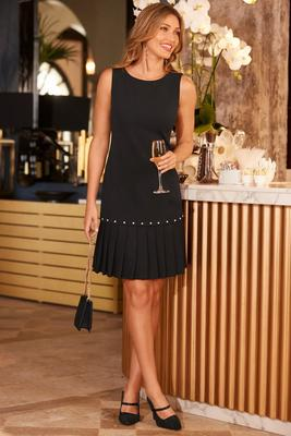 Pearl pleated shift dress
