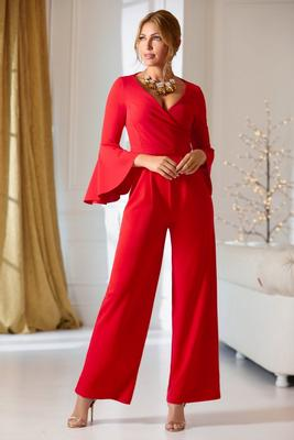 Surplice flare sleeve jumpsuit