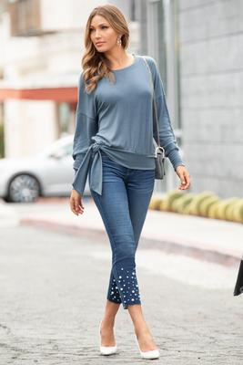 Ava Pull-On Ankle Jean With Pearls
