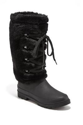 Rubber Faux Fur Rain Boot