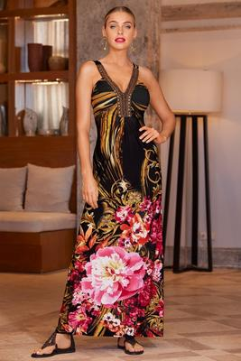 Embellished neckline printed maxi dress
