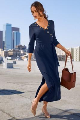 Beyond Travel™ Grommet-Neck Dress