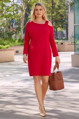 Beyond Travel™ Long-Sleeve Cold-Shoulder Dress