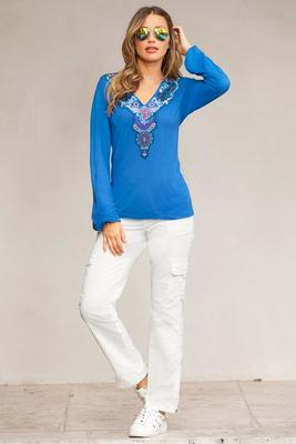 Embroidered V-Neck Long-Sleeve Top