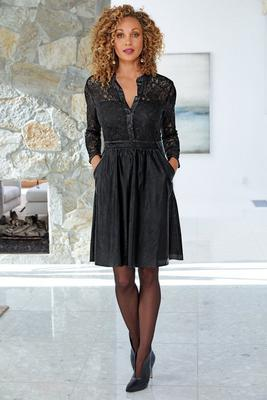 lace and vegan leather dress