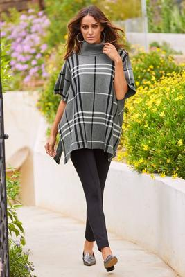 Plaid Turtleneck Poncho Sweater