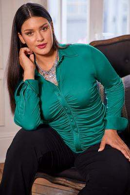 Button-Down Ruched Long-Sleeve Top