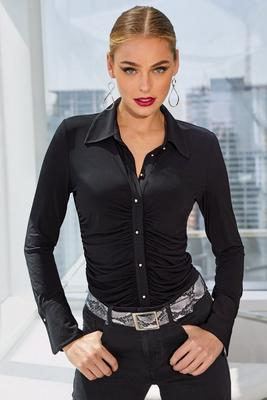 Display product reviews for Button-Down Ruched Long-Sleeve Top