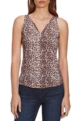 Embellished Leopard Button Henley Tank Top