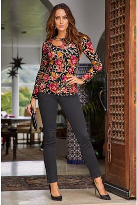Display product reviews for So Sexy™ Floral Print Ring Detail Long-Sleeve Top