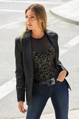leather single-button blazer