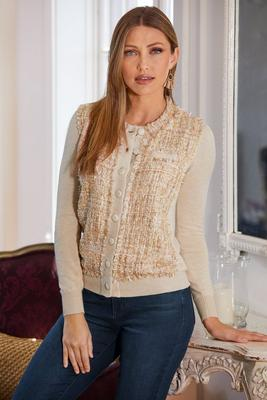 Tweed Front Button Cardigan