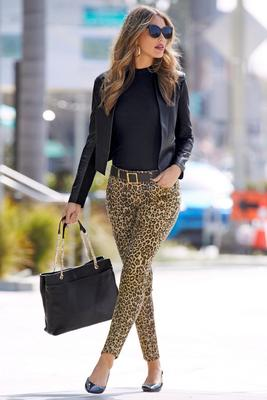 Leopard Five Pocket Ankle Jean