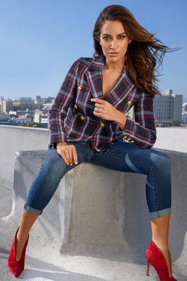Display product reviews for Double-Breasted Plaid Blazer