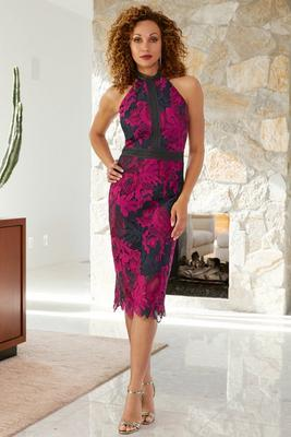 High Neck Lace Midi Dress