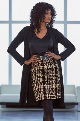 above-the-knee tweed skirt