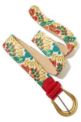 Floral embroidered buckle belt