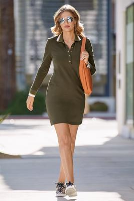 Chic Snap Front Collared Dress