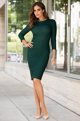 jeweled neckline sheath dress