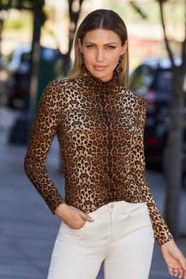 Display product reviews for Leopard Turtleneck Long-Sleeve Top