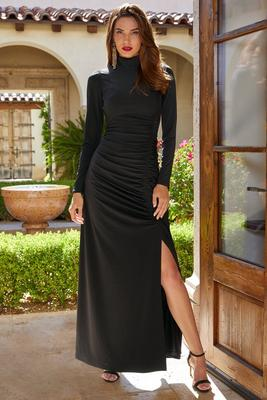 Long-Sleeve Mock Neck Ruched Gown