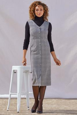 Plaid Covered Button Dress