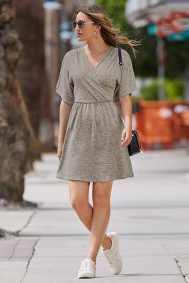 Surplice Short-Sleeve Knit Dress