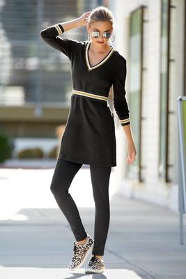 V-Neck Track Stripe Sport Dress