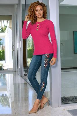 multicolor embellished ankle jean