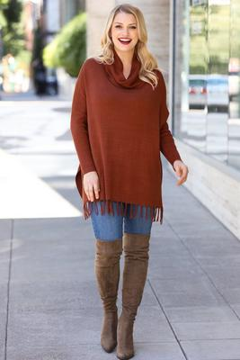 Display product reviews for Fringe Cowl Turtleneck Poncho Sweater