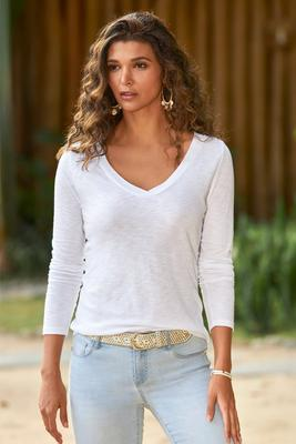 Long Sleeve V-Neck Casual Tee