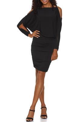 Beyond Basics Cold Shoulder Ruched Blouson Dress