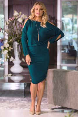Beyond Basics Cold Shoulder Ruched Blouson Dress