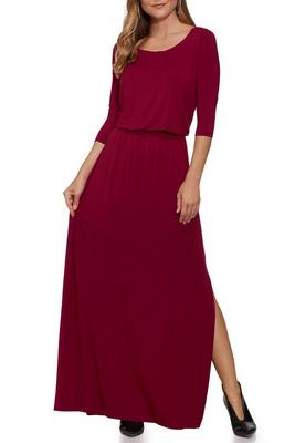 Beyond Basics Three-Quarter Sleeve Wide Neck Maxi Dress