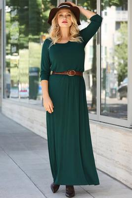 Display product reviews for Beyond Basics Three-Quarter Sleeve Wide Neck Maxi Dress