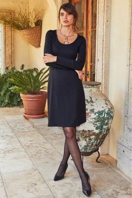Proper ponté long sleeve fit-and-flare dress