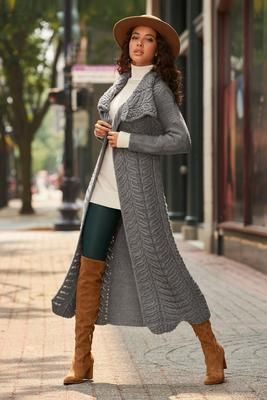 Display product reviews for Cable Detail Duster Sweater