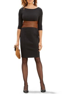 Three-Quarter Vegan Leather Color Block Sheath Dress